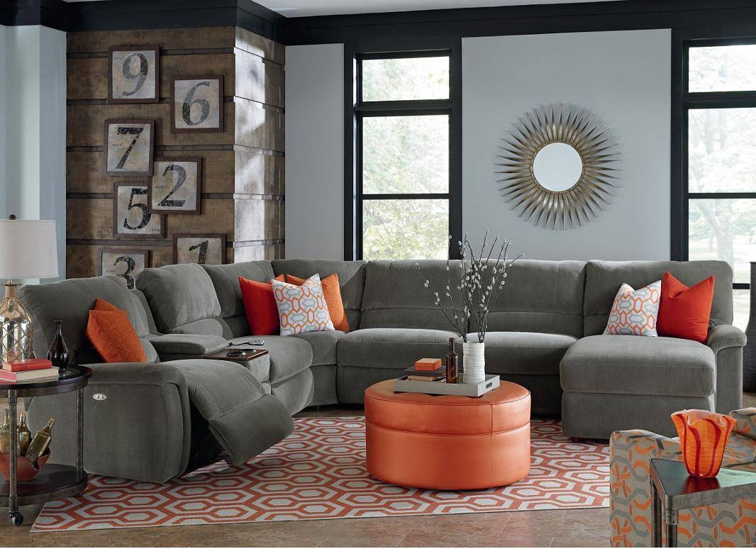 Seven Piece Reclining Sectional Sofa With Cupholdersla-Z-Boy intended for Lazyboy Sectional Sofa (Image 22 of 25)
