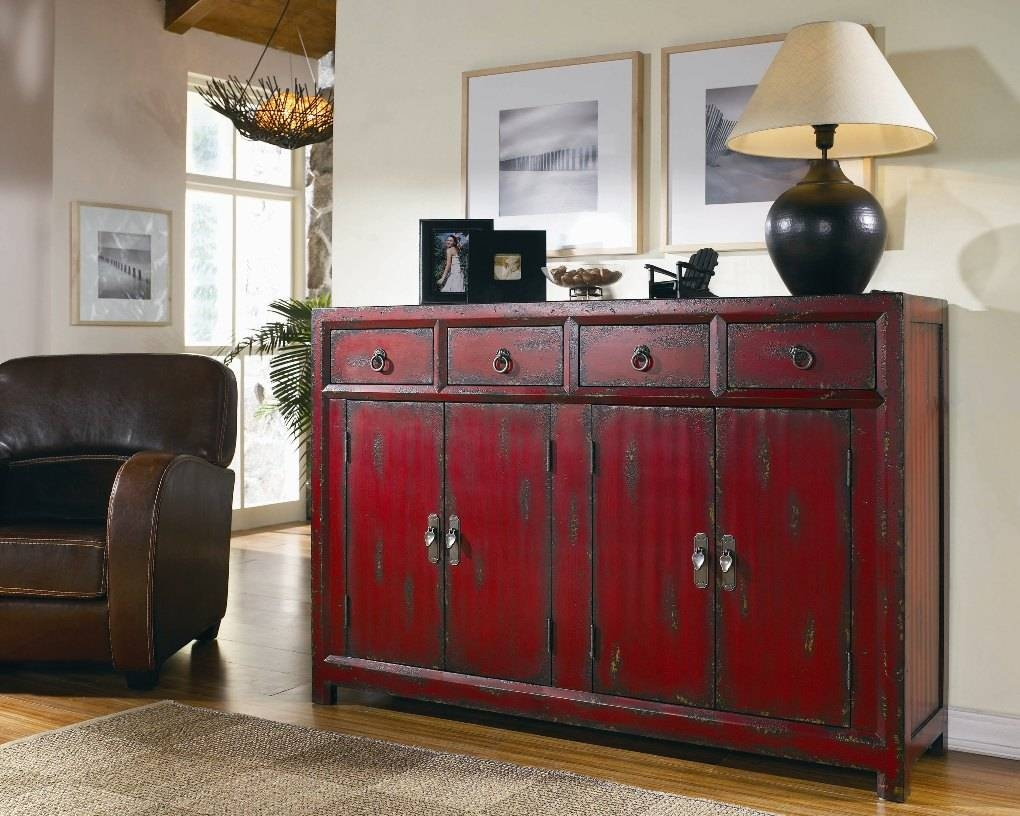 Seven Seas Red Asian Cabinet | Sideboards And Servers for Asian Sideboards (Image 22 of 30)