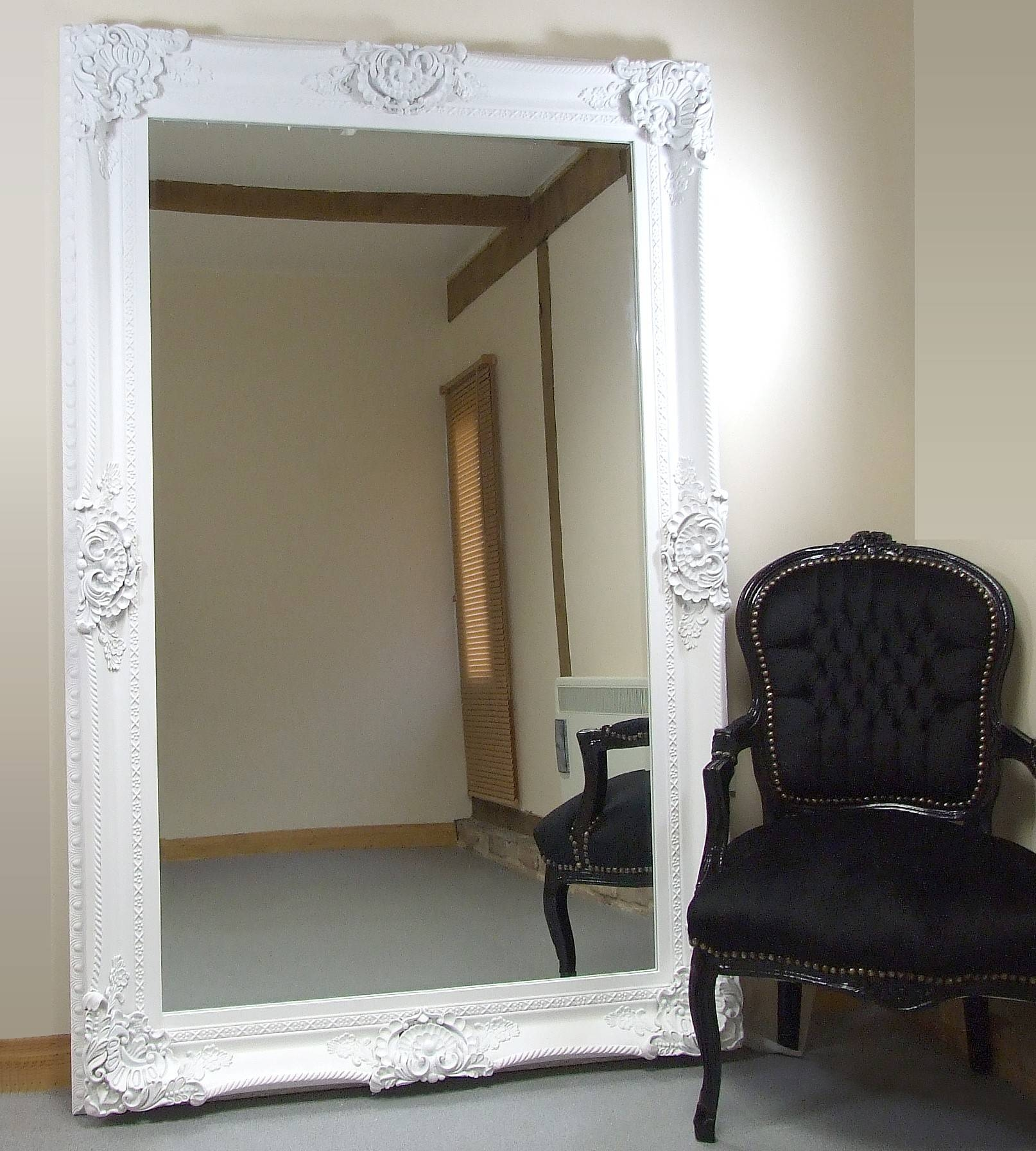 Seville Ornate Extra-Large French Full Length Wall Leaner Mirror intended for Large White Ornate Mirrors (Image 20 of 25)