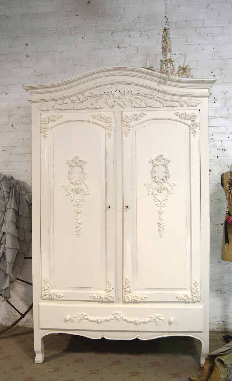 Shabby Chic Armoires throughout White French Armoire Wardrobes (Image 15 of 15)