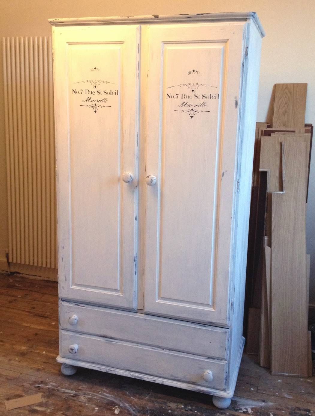 "Shabby Chic, ""chalky Finish Paint"" Wardrobe Make Over: Decoart with How to Shabby Chic a Wardrobes (Image 10 of 15)"