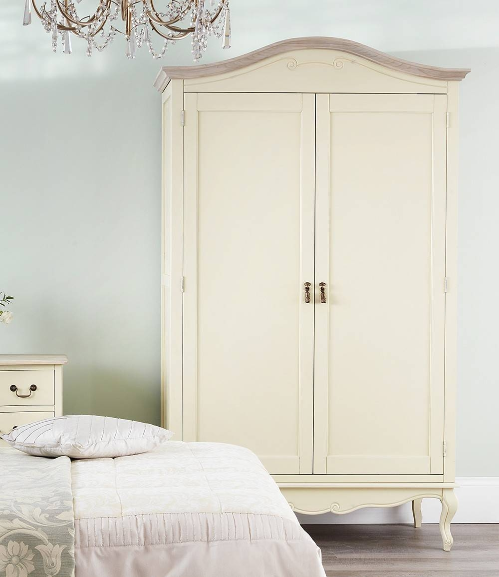 Shabby Chic Champagne Double Wardrobe for Cream French Wardrobes (Image 10 of 15)