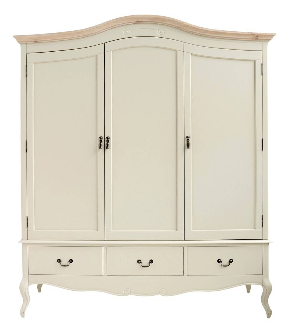 Shabby Chic Champagne Triple Wardrobe pertaining to Chic Wardrobes (Image 8 of 15)