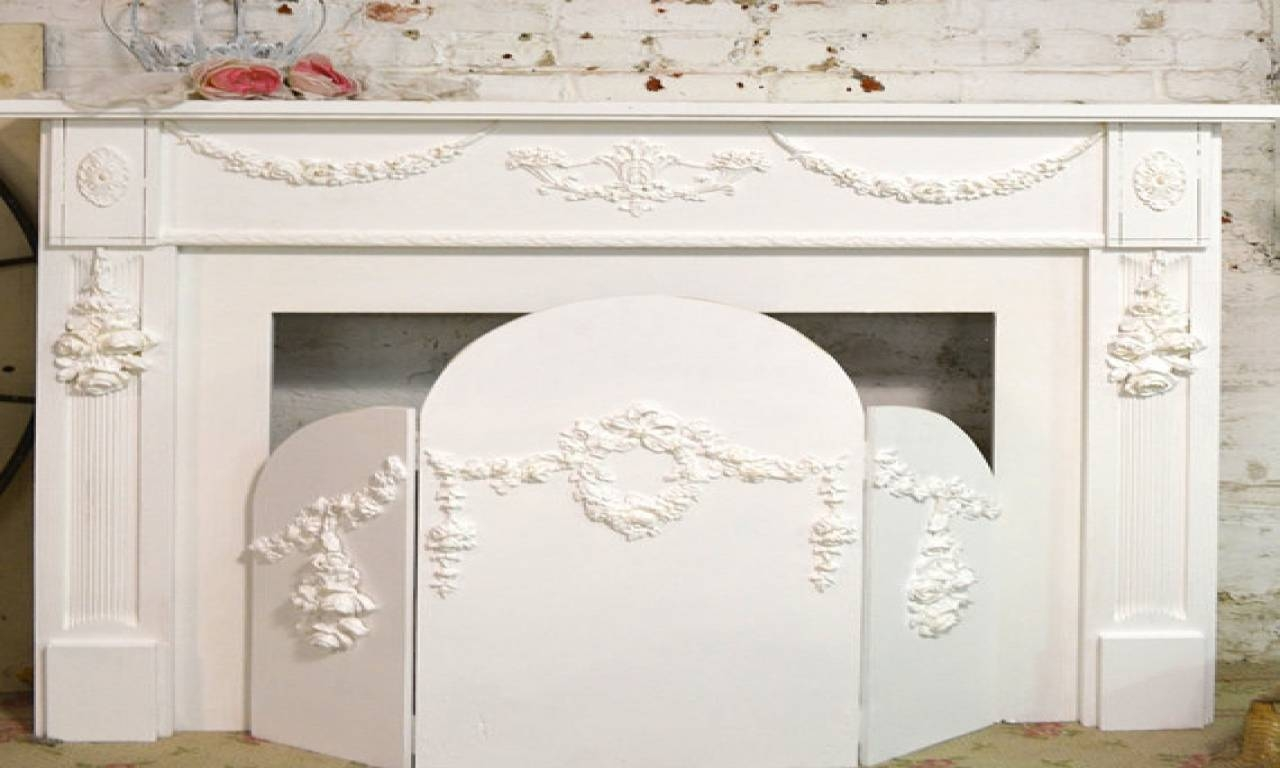 Shabby Chic Fireplace Mantel, Shabby Chic Painted Fireplace Screen regarding Shabby Chic Full Length Mirrors (Image 17 of 25)