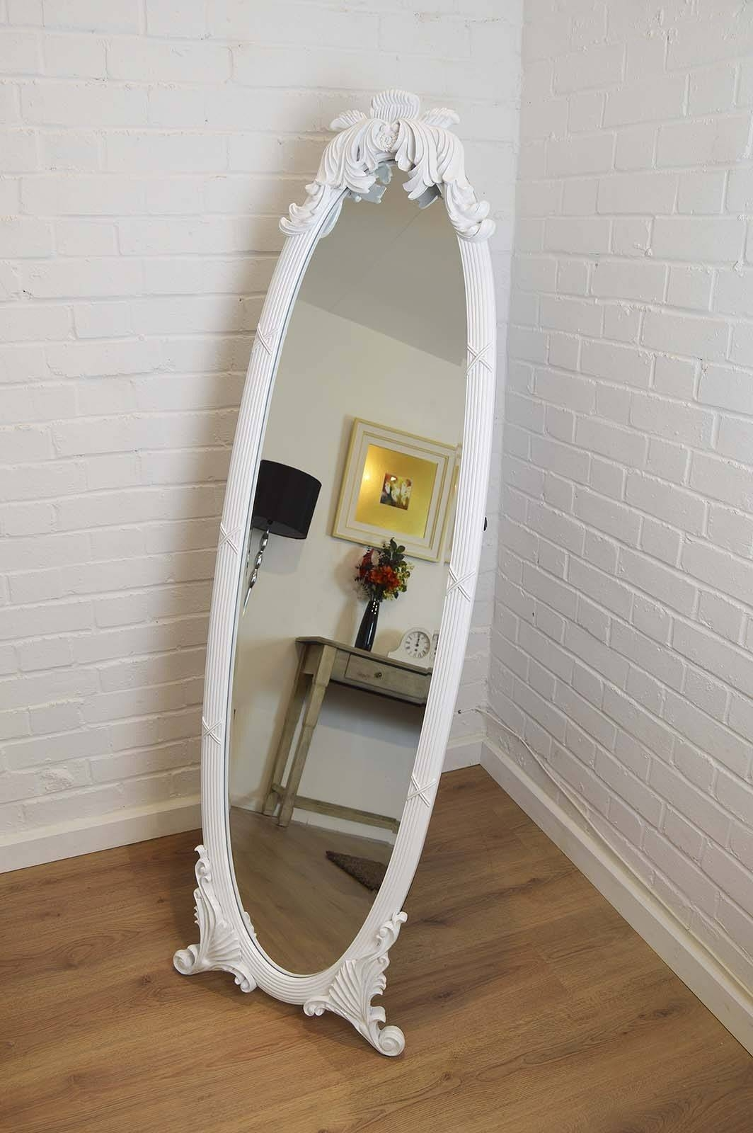Shabby Chic Floor Standing Mirror 150 Beautiful Decoration Also throughout Free Standing Oval Mirrors (Image 24 of 25)