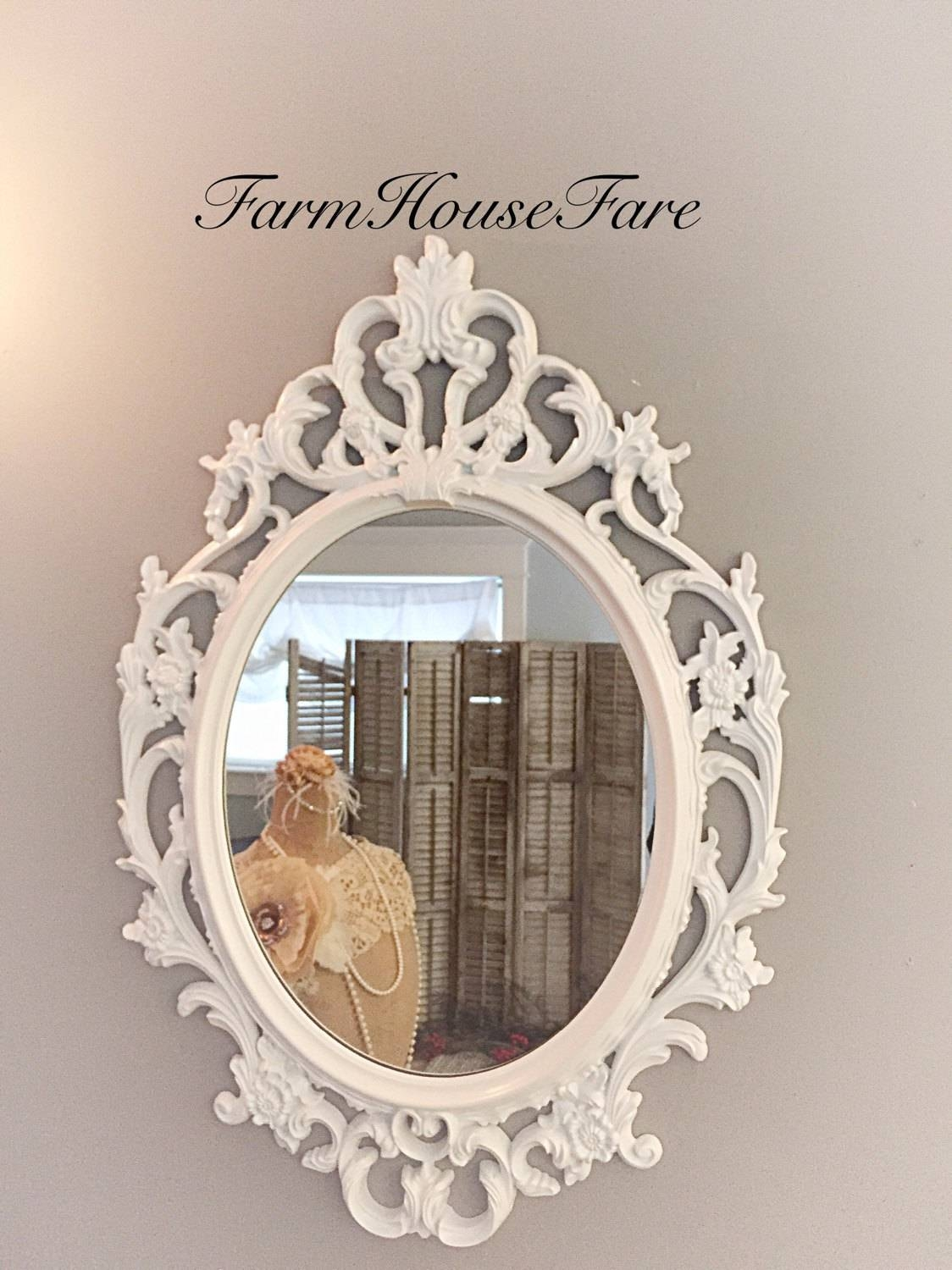 Shabby Chic Mirror Bright White Oval Ornate Mirror Large throughout White Baroque Wall Mirrors (Image 18 of 25)