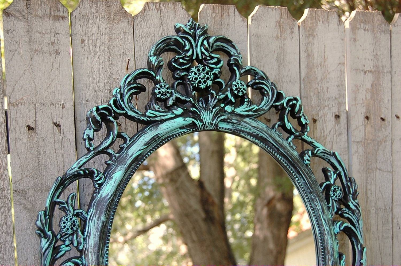 Shabby Chic Mirror Turquoise Aqua Black Hanging Mirror Within Black Shabby Chic Mirrors (View 22 of 25)