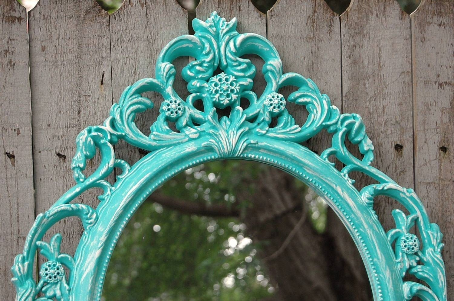 Shabby Chic Mirror Wall Mirror Baroque Mirror Aqua within White Baroque Wall Mirrors (Image 19 of 25)