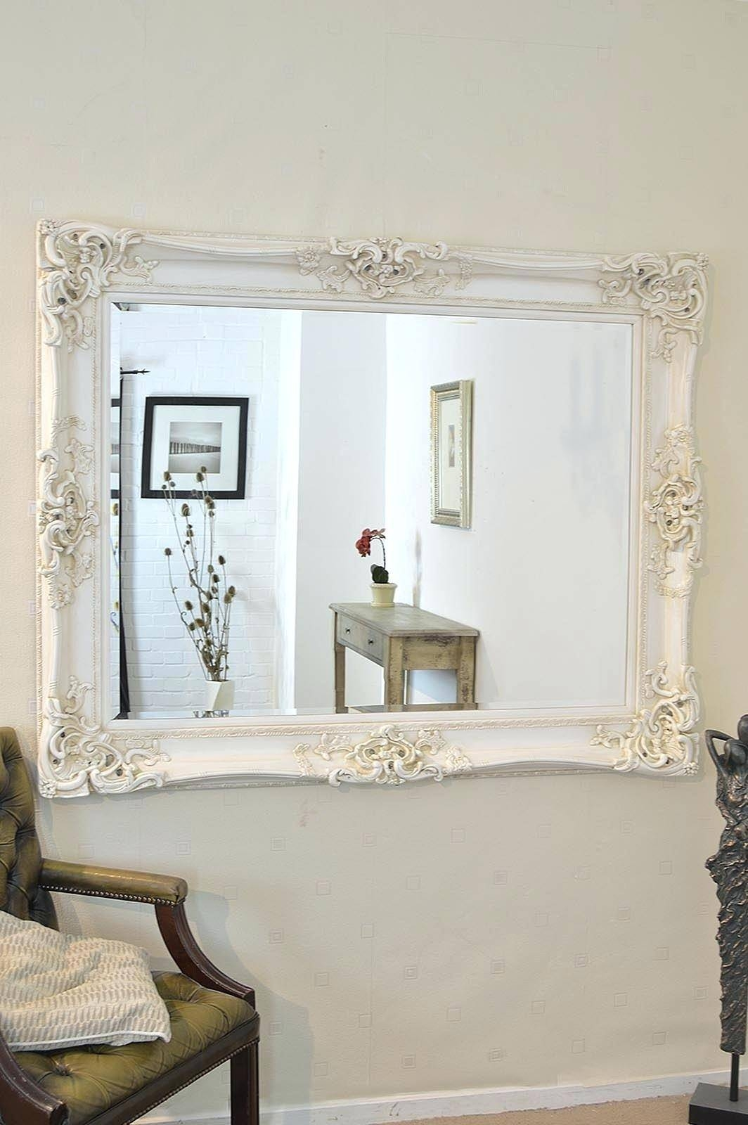 Shabby Chic Overmantle Mirrorlarge Oval Mirror Large Cream Inside Black Shabby Chic Mirrors (View 18 of 25)