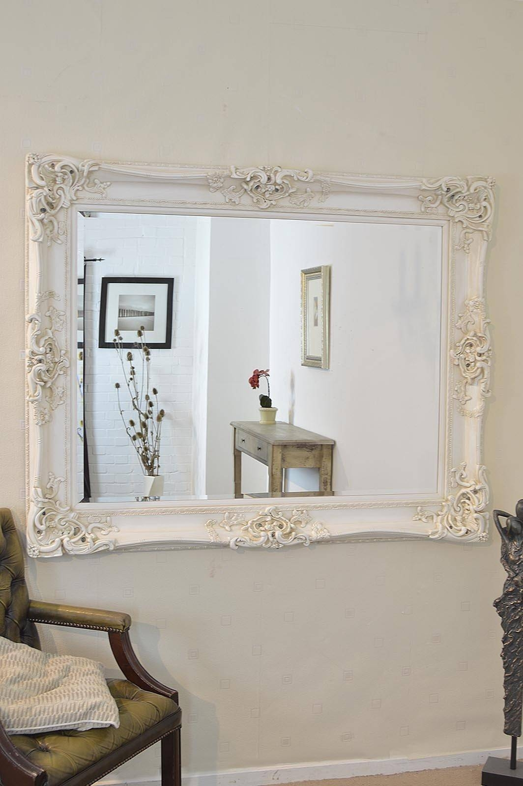 Shabby Chic Wall Mirror 5 Beautiful Decoration Also Large Ivory with regard to Ivory Ornate Mirrors (Image 22 of 25)
