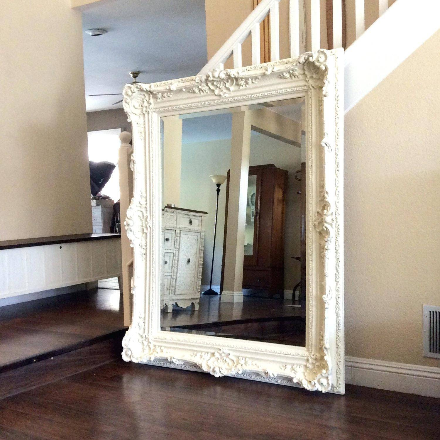 Shabby Chic White Mirror – Shopwiz throughout Large White Ornate Mirrors (Image 23 of 25)