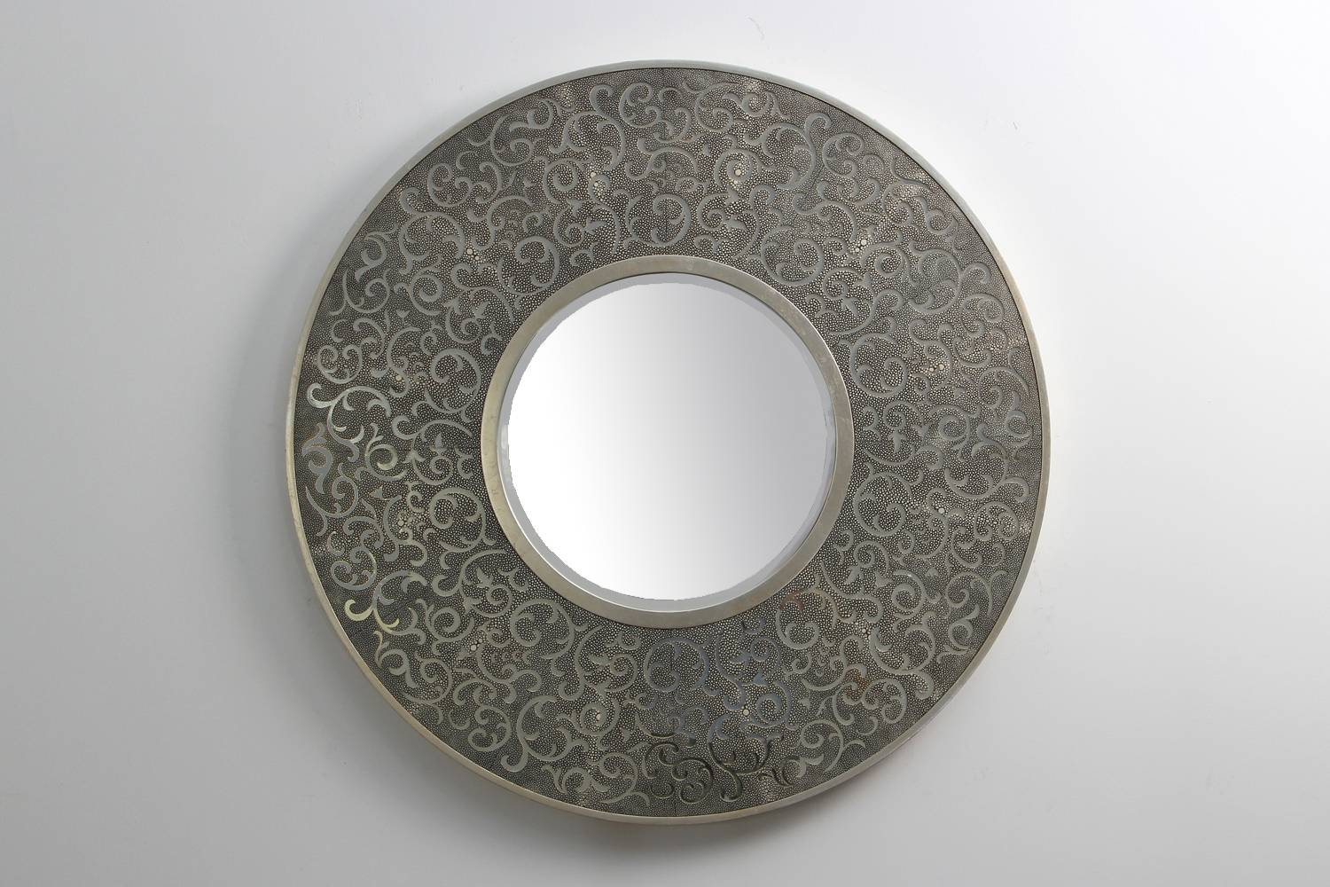Shagreen Charcoal Damask Mirror | Forwood Design regarding Modern Silver Mirrors (Image 19 of 25)