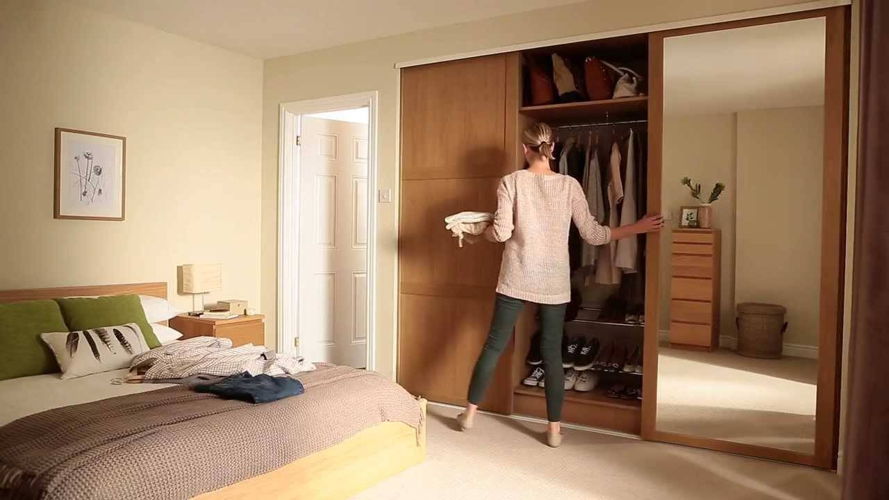 Shaker Panel & Mirror Oak Sliding Doors - Howdens Joinery - Youtube with Oak Mirrored Wardrobes (Image 11 of 15)