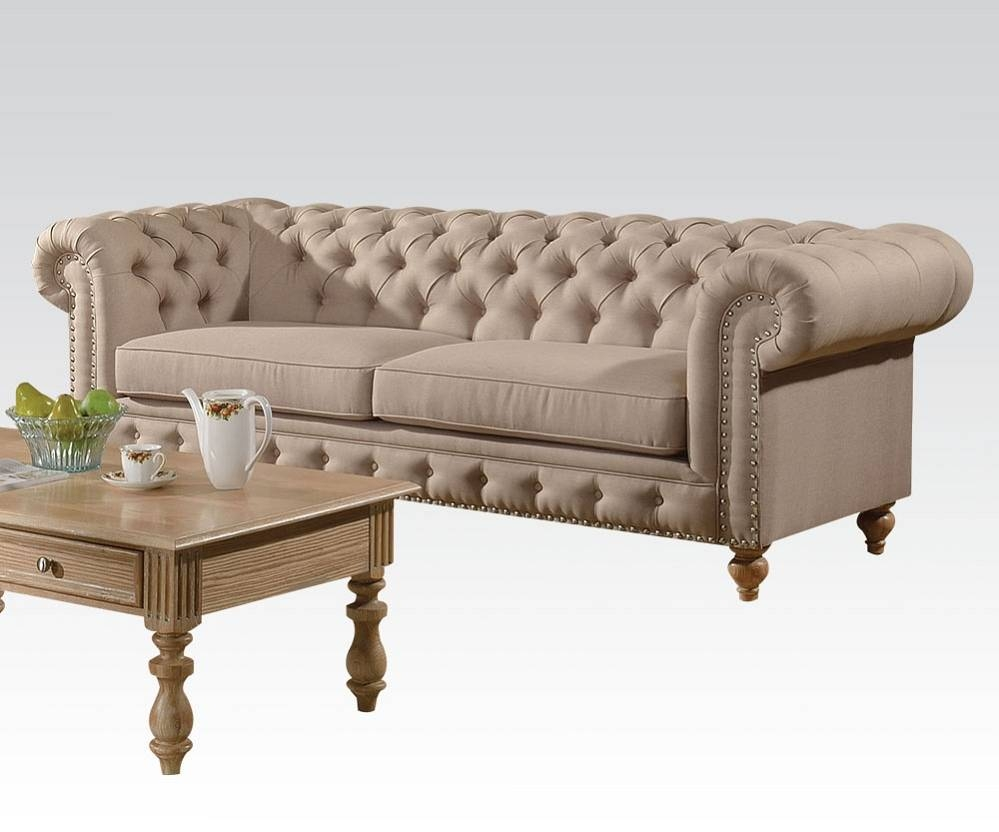 Shantoria Collection Tufted Beige Linen Finish Sofa intended for Tufted Linen Sofas (Image 25 of 30)