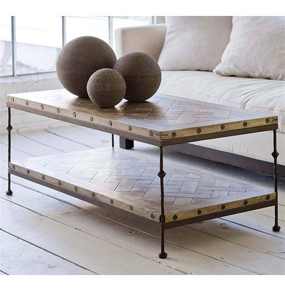Shays Rustic Mango Wood Parquet Metal Rectangle Coffee Table with regard to Mango Wood Coffee Tables (Image 25 of 30)