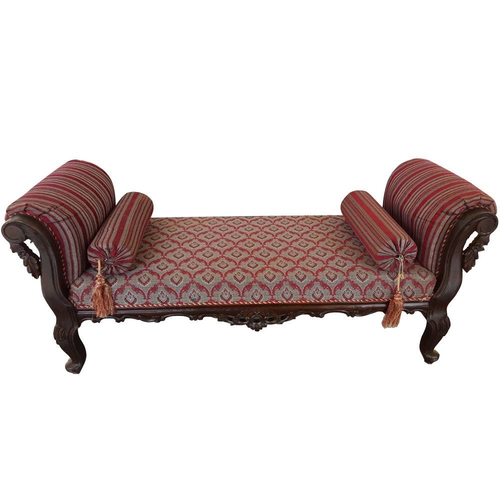 Sheesham Wood Handcrafted Antibes Backless Chaise Longue/dewan Intended For Backless Chaise Sofa (View 2 of 30)