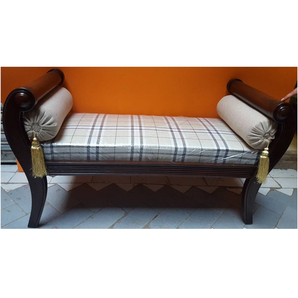 Sheesham Wood Handcrafted Backless Inner Arms Chaise Longue/dewan regarding Backless Chaise Sofa (Image 23 of 30)
