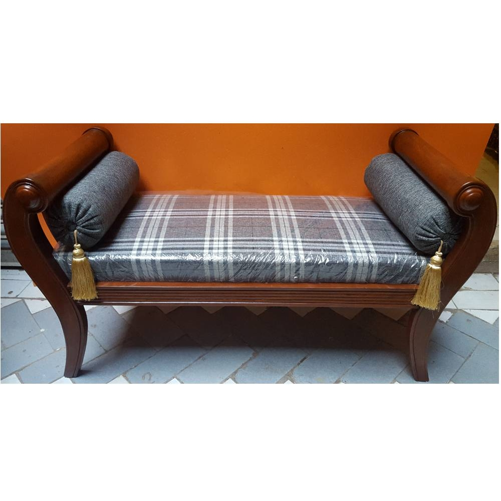Sheesham Wood Handcrafted Backless Inner Arms Chaise Longue/dewan with regard to Backless Chaise Sofa (Image 24 of 30)