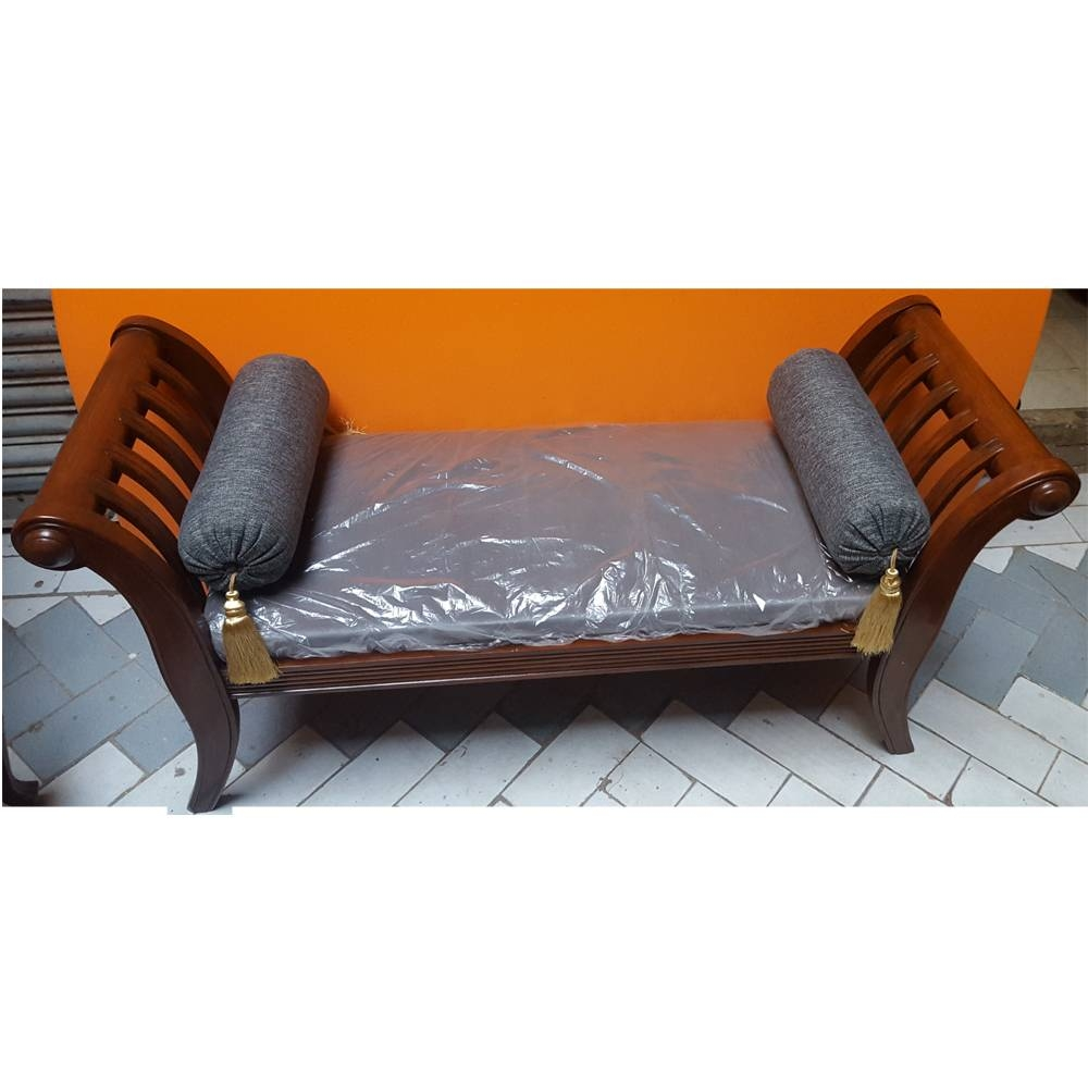Sheesham Wood Handcrafted Backless Outer Arms Chaise Longue/dewan Within Backless Chaise Sofa (View 5 of 30)