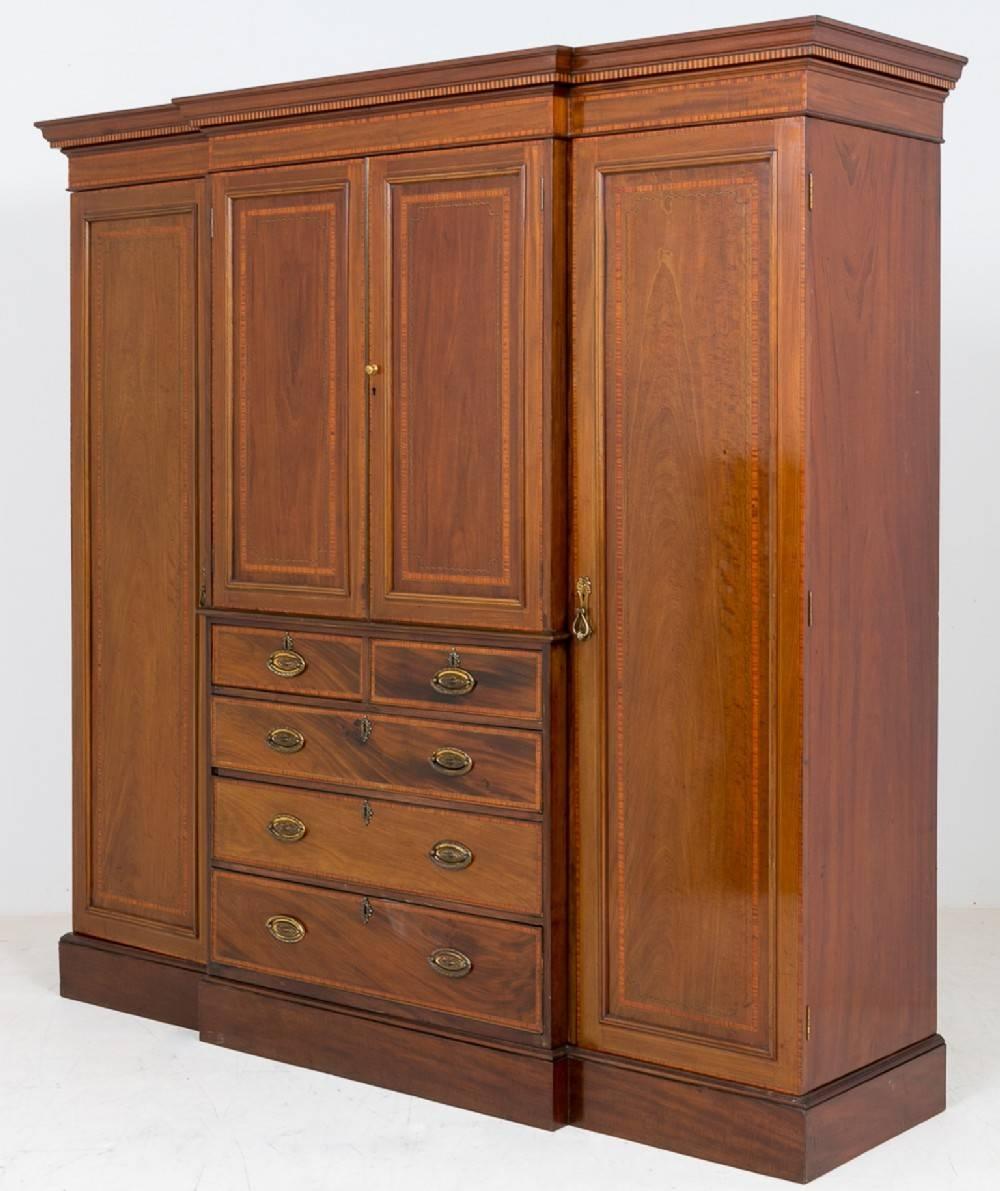 Sheraton Revival Mahogany Breakfront Wardrobe | 412110 regarding Breakfront Wardrobe (Image 18 of 30)
