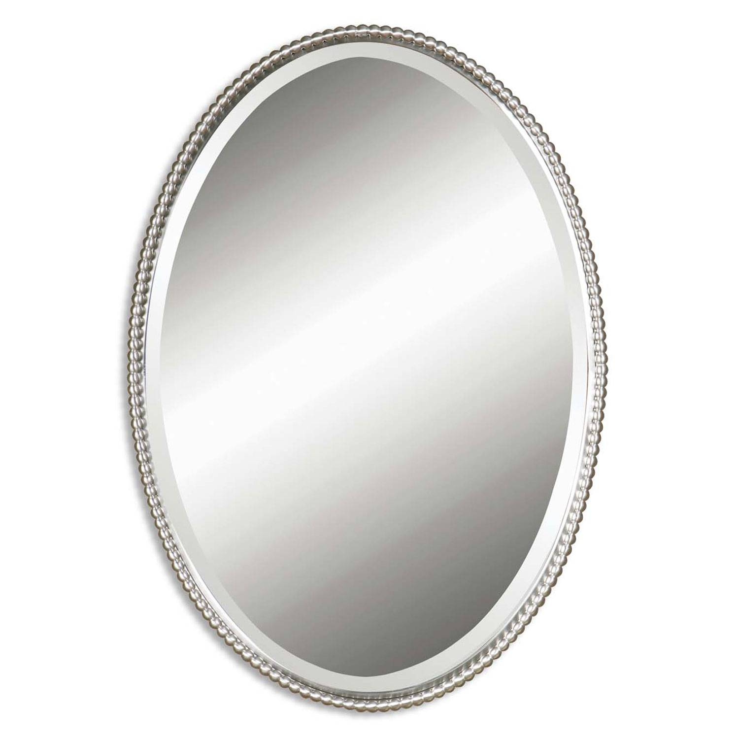 Sherise Brushed Nickel Oval Mirror Uttermost Wall Mirror Mirrors intended for Silver Oval Mirrors (Image 19 of 25)