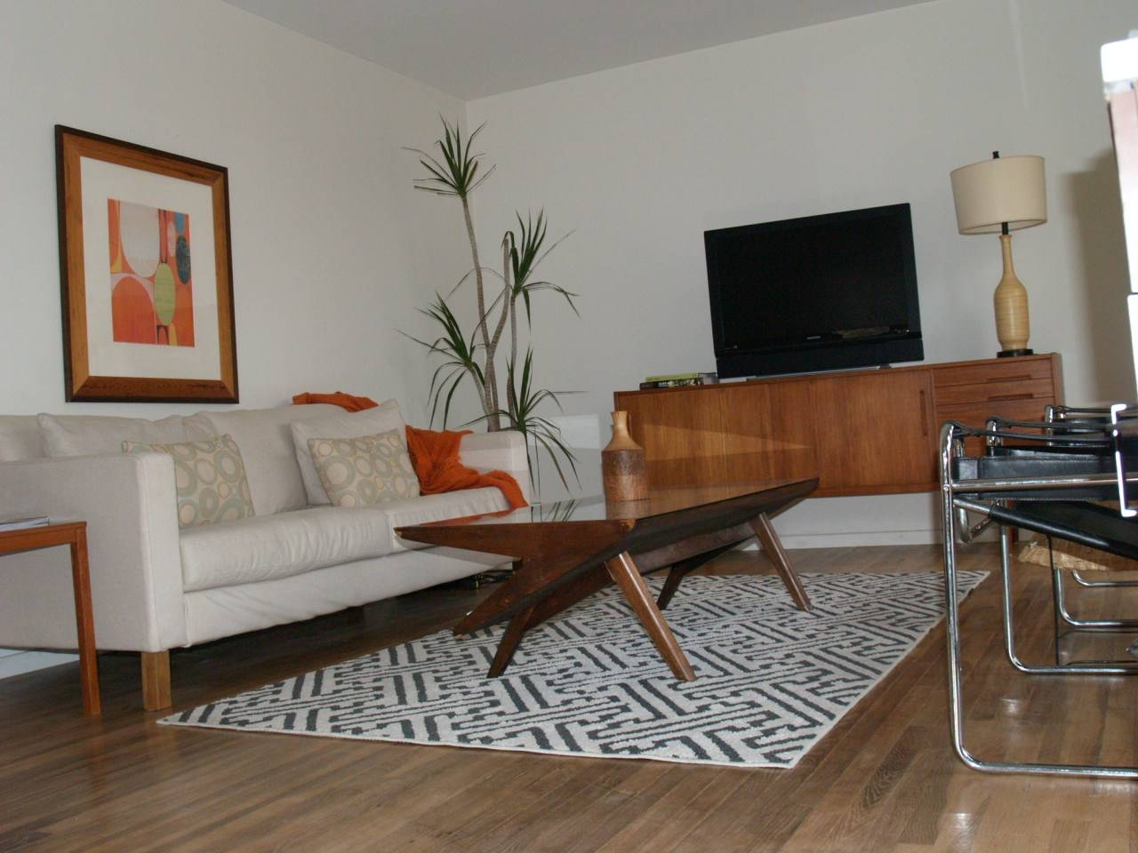 Shiny Orange Color Laminated Tv Cabinet Table Al Mid Century within Tv Cabinets and Coffee Table Sets (Image 14 of 15)