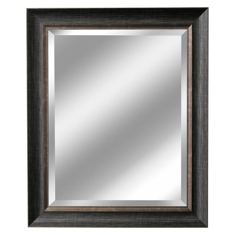 Shop Allen + Roth Brush Charcoal And Pewter Beveled Wall Mirror At within Large Pewter Mirrors (Image 18 of 25)