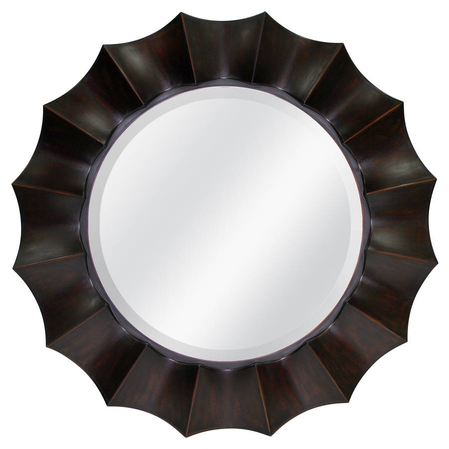 Shop Allen + Roth Oil-Rubbed Bronze Beveled Round Wall Mirror At throughout Bronze Wall Mirrors (Image 18 of 25)