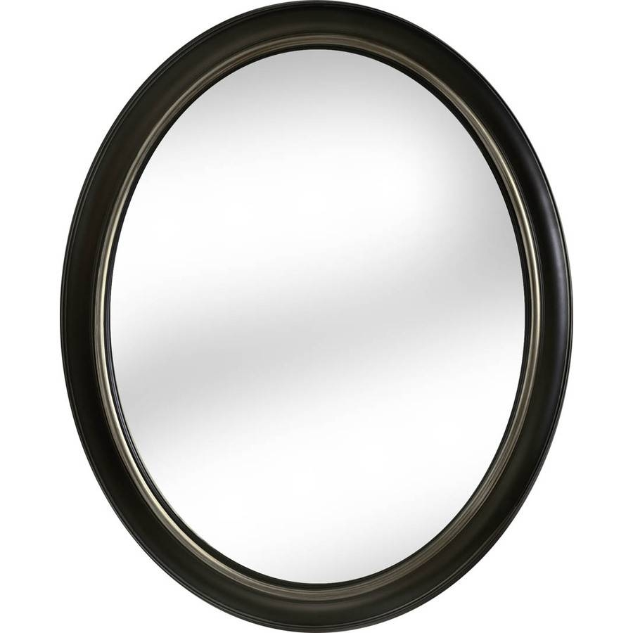 Shop Allen + Roth Oil-Rubbed Bronze Polished Oval Wall Mirror At with Oval Black Mirrors (Image 22 of 25)