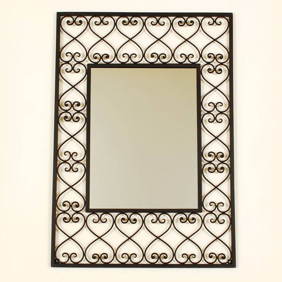Shop Ashton Sutton 19-In X 26-In Wrought Iron Rectangle Framed intended for Black Wrought Iron Mirrors (Image 17 of 25)