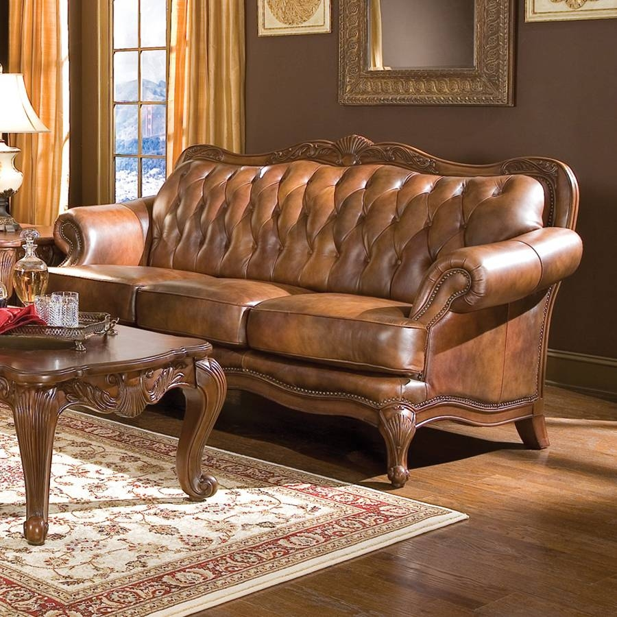 Shop Coaster Fine Furniture Victoria Brown Leather Sofa At Lowes with Victorian Leather Sofas (Image 20 of 30)