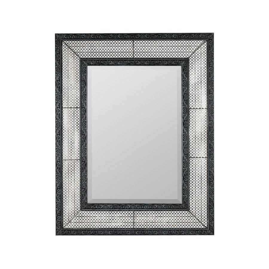 Shop Cooper Classics Dearborn Distressed Gray Beveled Wall Mirror in Distressed Silver Mirrors (Image 20 of 25)