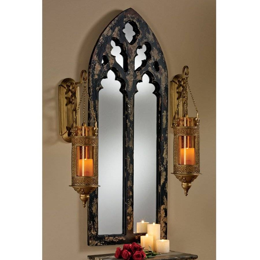 Shop Design Toscano Gothic Cathedral Black/gold Polished Arch Wall throughout Gothic Wall Mirrors (Image 24 of 25)