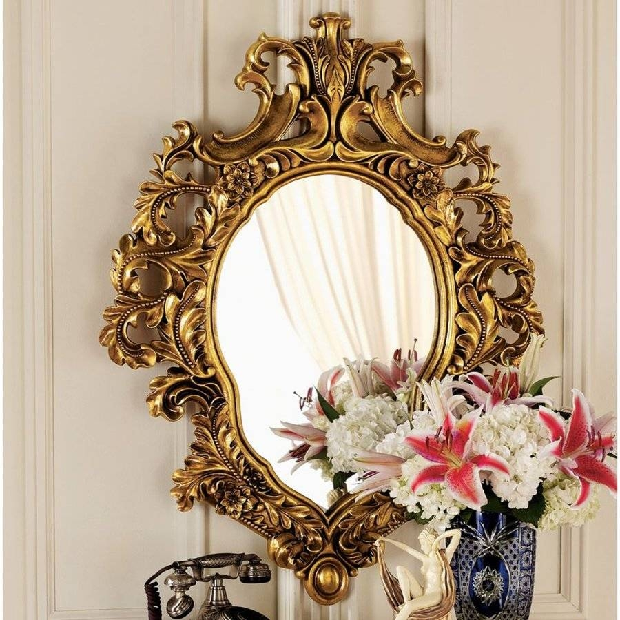 Shop Design Toscano Madame Antoinette Faux Antique Gold Polished inside Antique Style Wall Mirrors (Image 23 of 25)