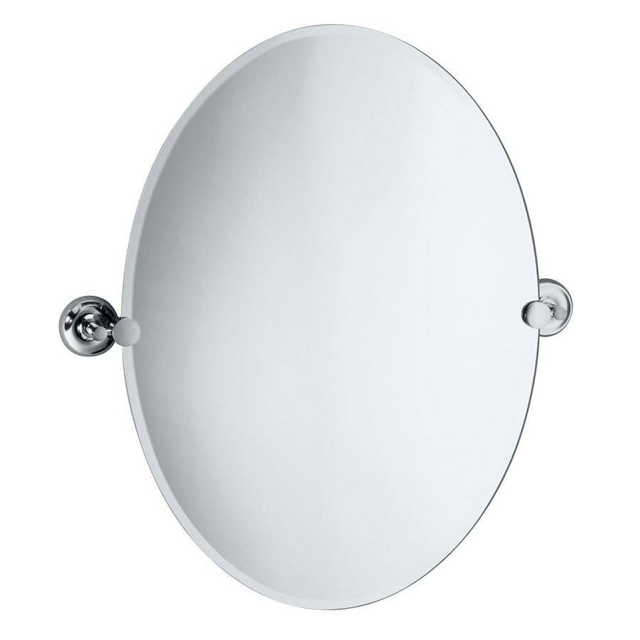 Shop Gatco Designer 2 19.5-In X 26.5-In Oval Frameless Bathroom within Beveled Edge Oval Mirrors (Image 21 of 25)