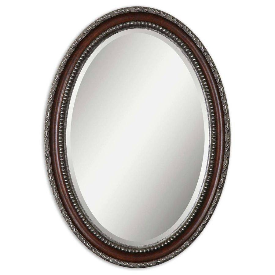 Shop Global Direct Mahogany Beveled Oval Wall Mirror At Lowes Inside Silver Oval Wall Mirrors (View 21 of 25)