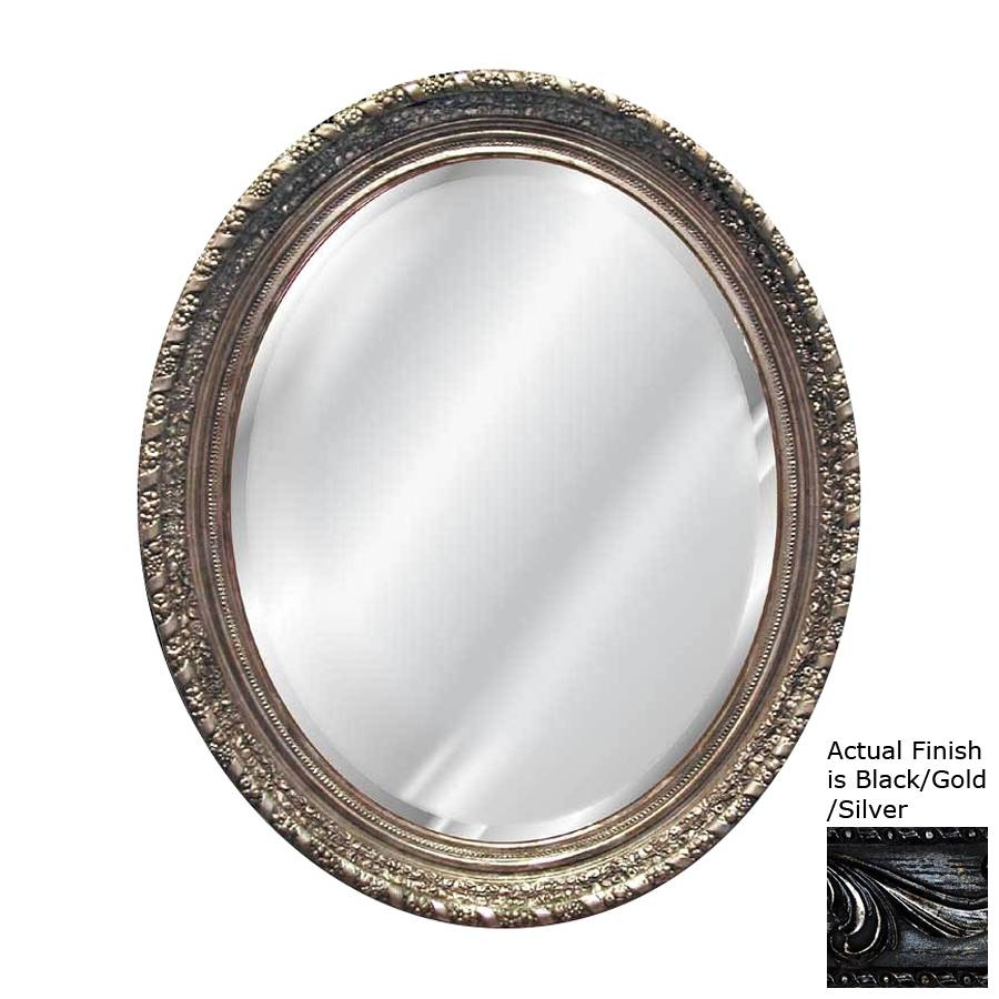 Shop Hickory Manor House Ornate Black/gold/silver Beveled Oval for Black Oval Wall Mirrors (Image 21 of 25)