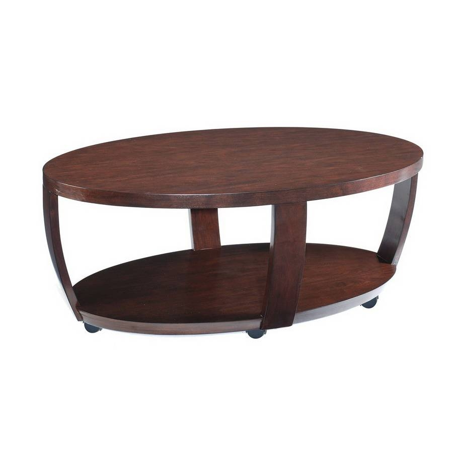 Shop Magnussen Home Sotto Sienna Walnut Oval Coffee Table At Lowes for Oval Wood Coffee Tables (Image 27 of 30)