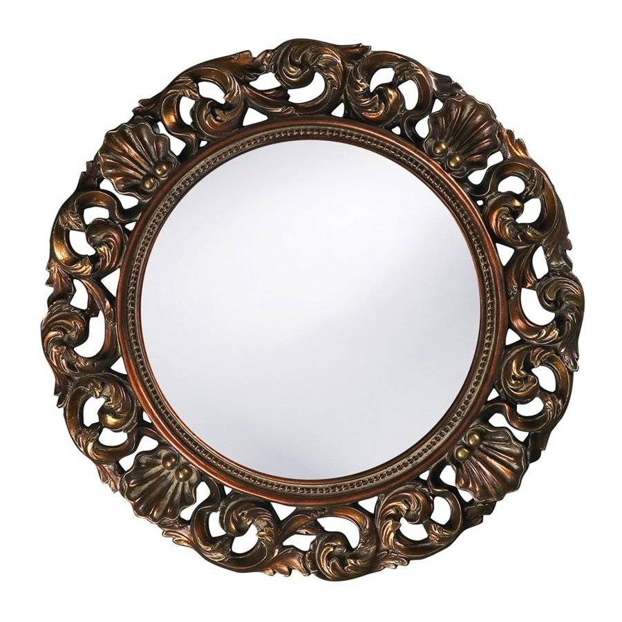 Shop Tyler Dillon Glendale Antique Gold Polished Round Wall Mirror with Gold Round Mirrors (Image 22 of 25)