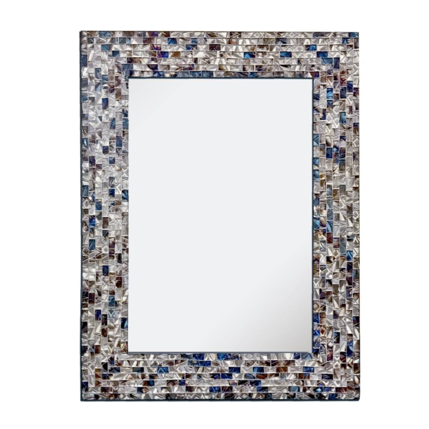 Shop Wall Mirror, Clock, Crackled Glass Mosaic Wall Decor - Decorshore throughout Mosaic Wall Mirrors (Image 23 of 25)