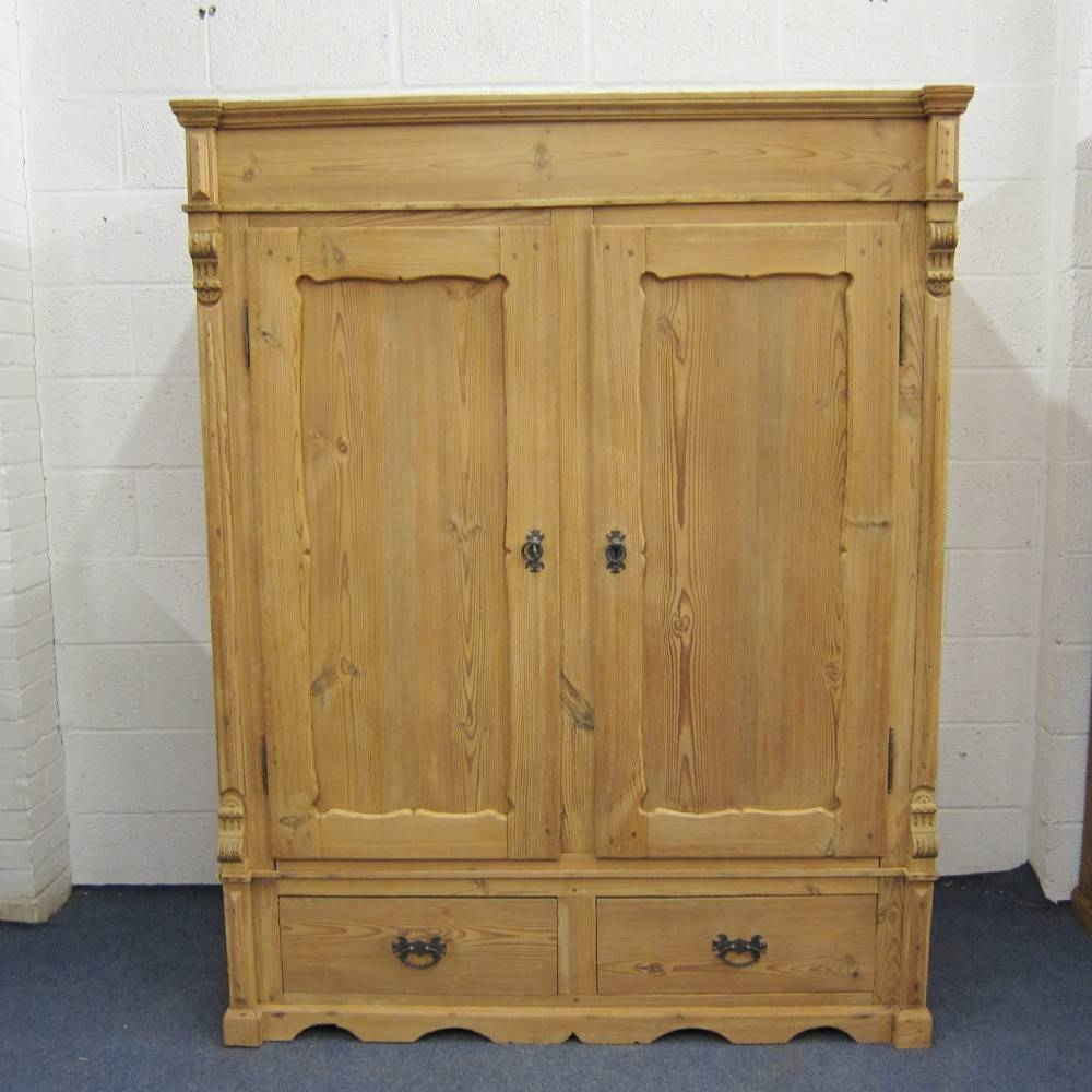 Short Antique Pine Wardrobe (Dismantles) | 324852 for Short Wardrobes (Image 7 of 15)