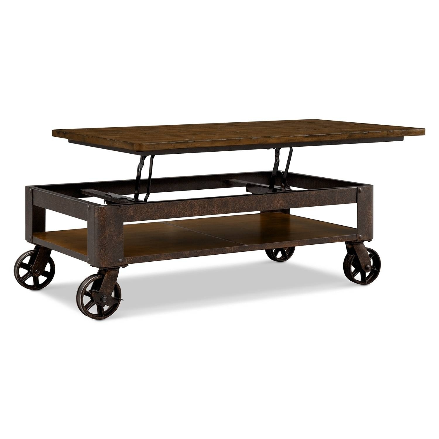 Shortline Lift-Top Cocktail Table - Distressed Pine | Value City intended for Hinged Top Coffee Tables (Image 24 of 30)