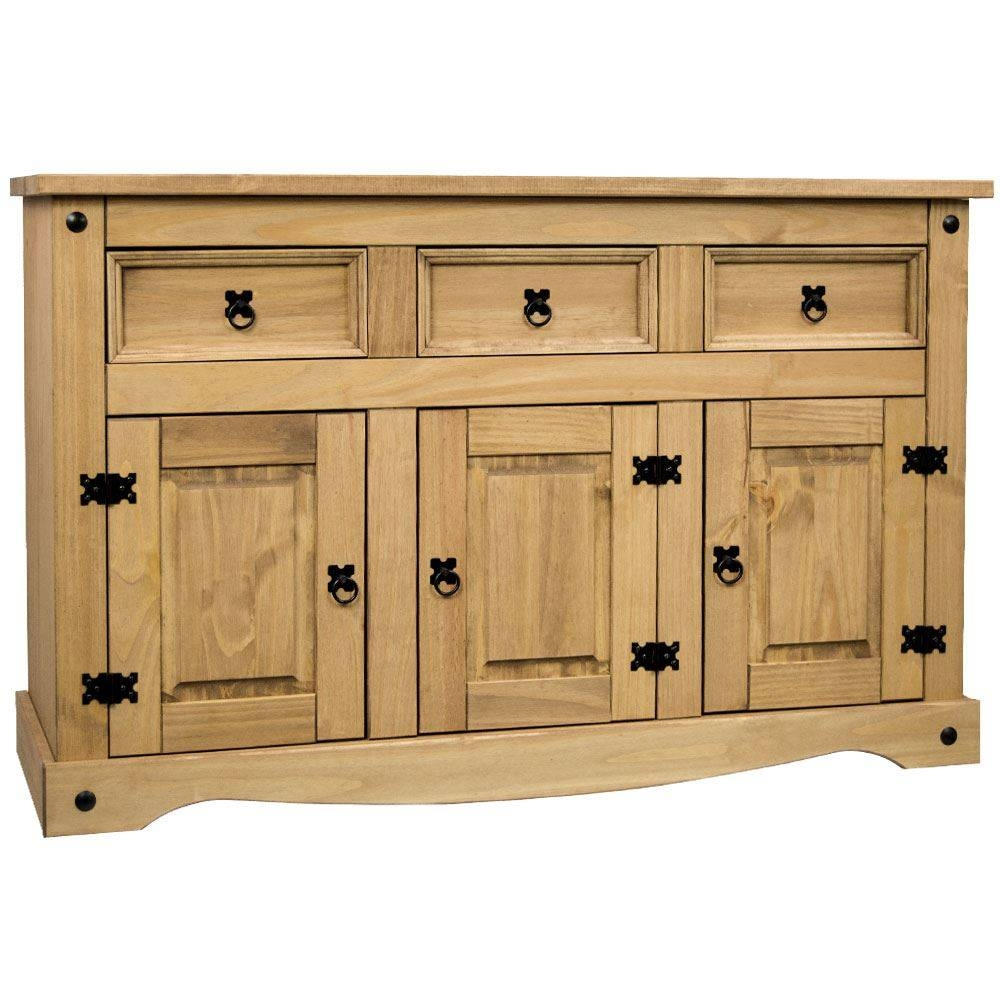 Sideboard Corona & Panama 1 2 3 4 Door Drawer Solid Waxed Pine in Sideboard Units (Image 21 of 30)