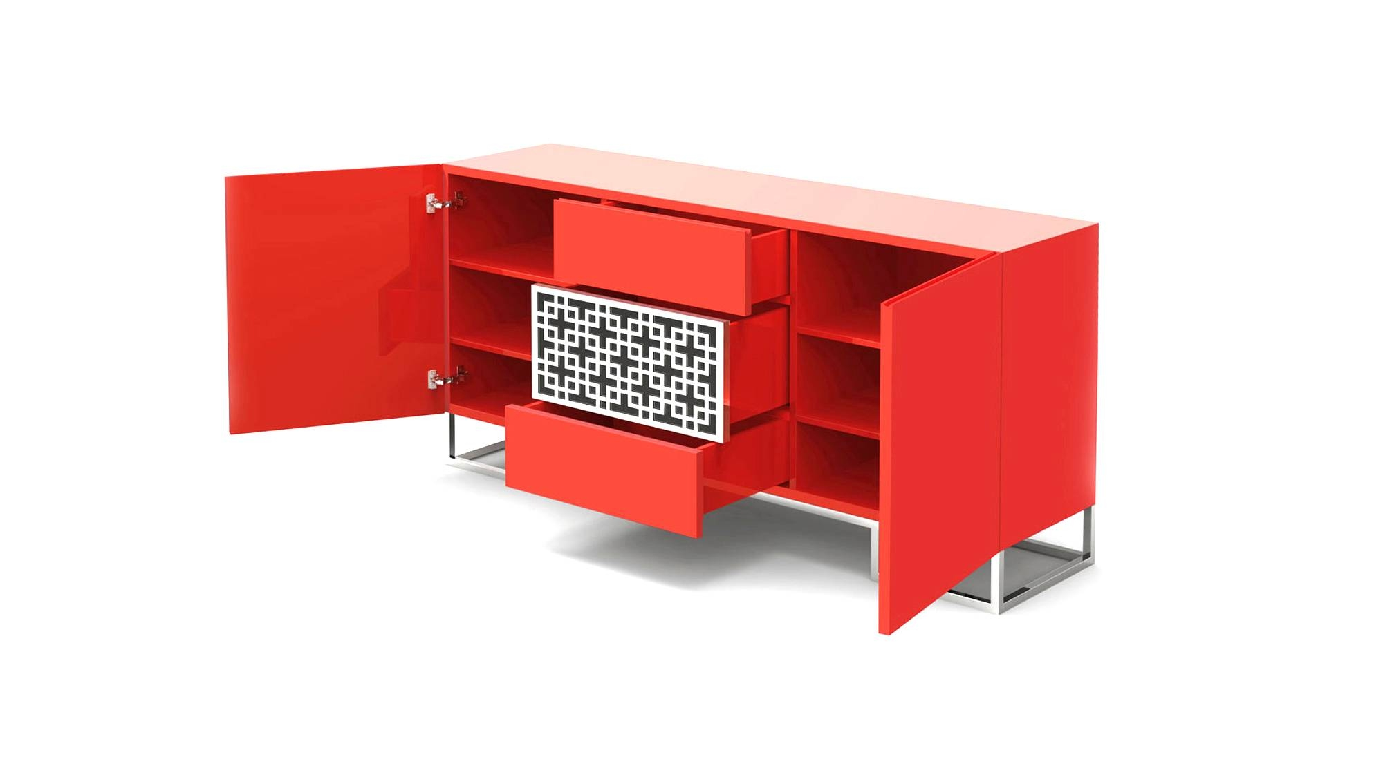 Sideboard With Central Motif | Forbidden City Regarding Red High Gloss Sideboards (Photo 4 of 30)
