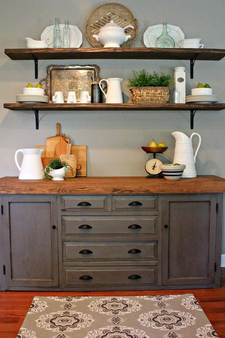 Sideboards. Amazing Floating Buffet Table: Floating-Buffet-Table inside Distressed Wood Sideboards (Image 24 of 30)