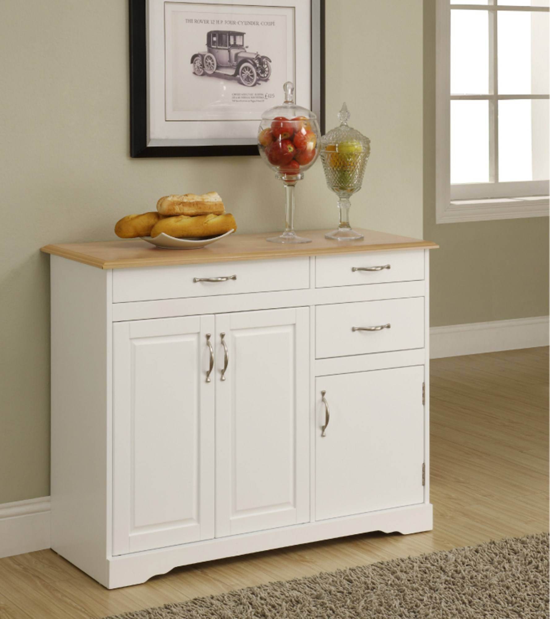 Sideboards. Amazing Kitchen Hutch And Buffet: Kitchen-Hutch-And regarding Narrow White Sideboards (Image 14 of 30)