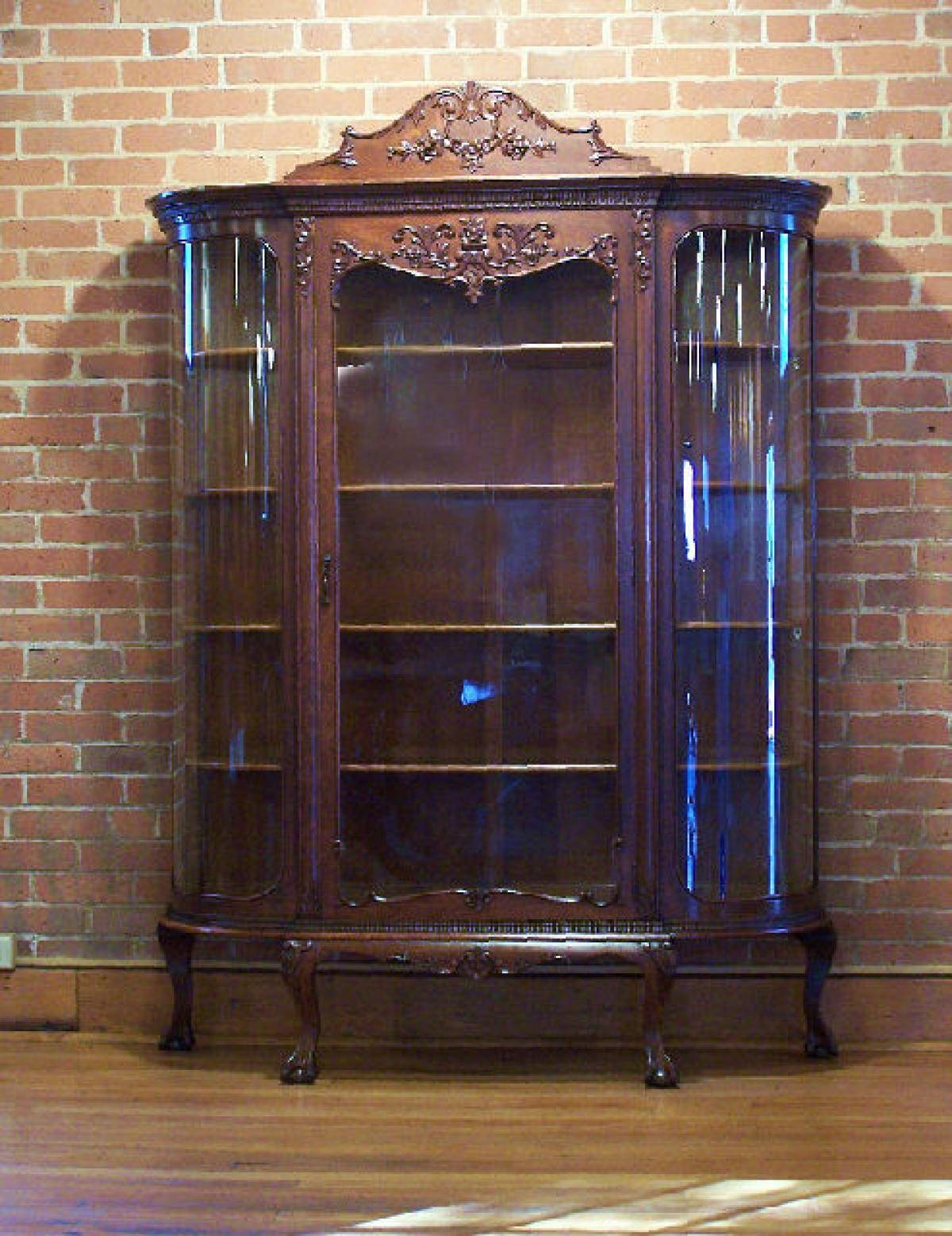 Sideboards. Amazing Oak China Cabinet: Oak-China-Cabinet-Antique throughout Curved Sideboards (Image 14 of 30)