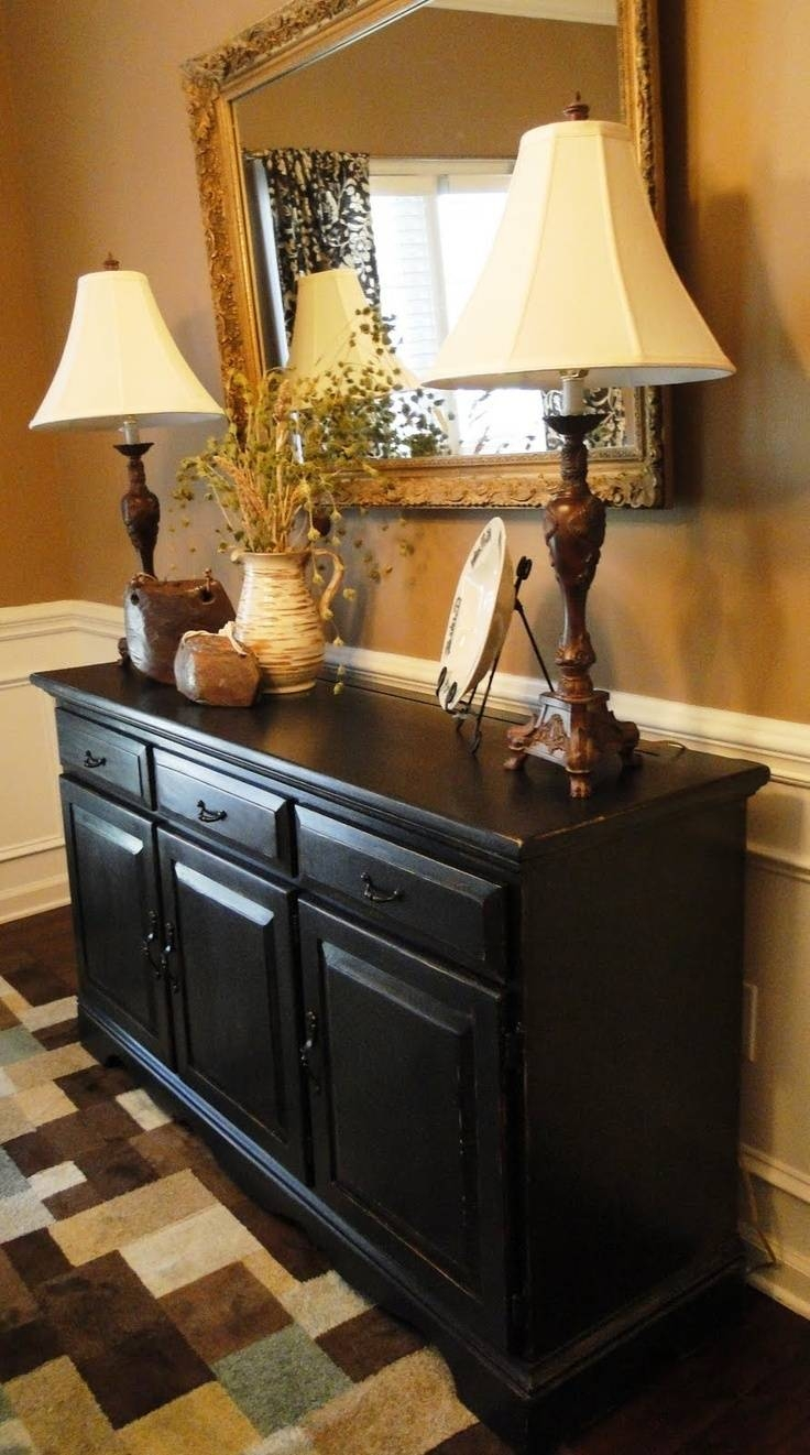 Sideboards. Amusing Black Kitchen Buffet: Black-Kitchen-Buffet with regard to Hall Sideboards (Image 22 of 30)