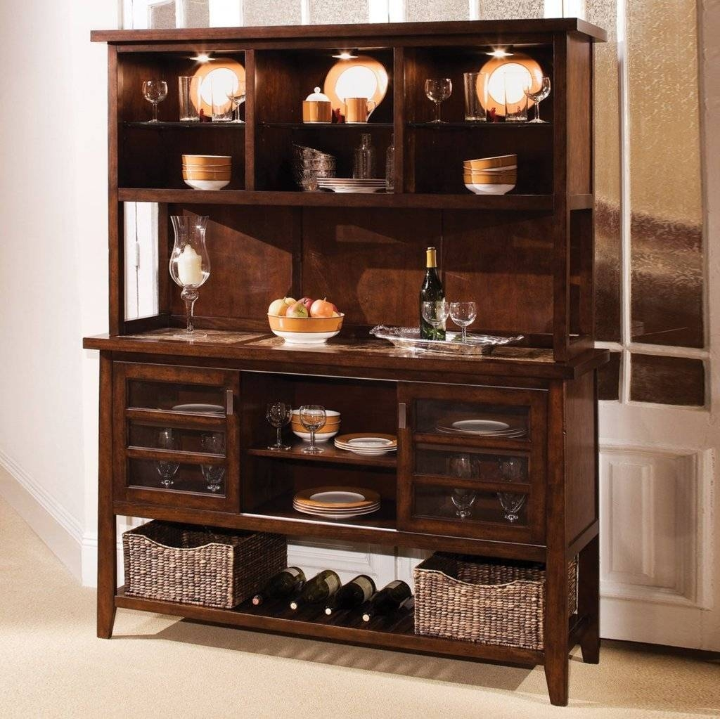 Sideboards. Astounding Buffet Hutch With Wine Rack: Buffet-Hutch intended for Sideboards With Lamps (Image 19 of 30)
