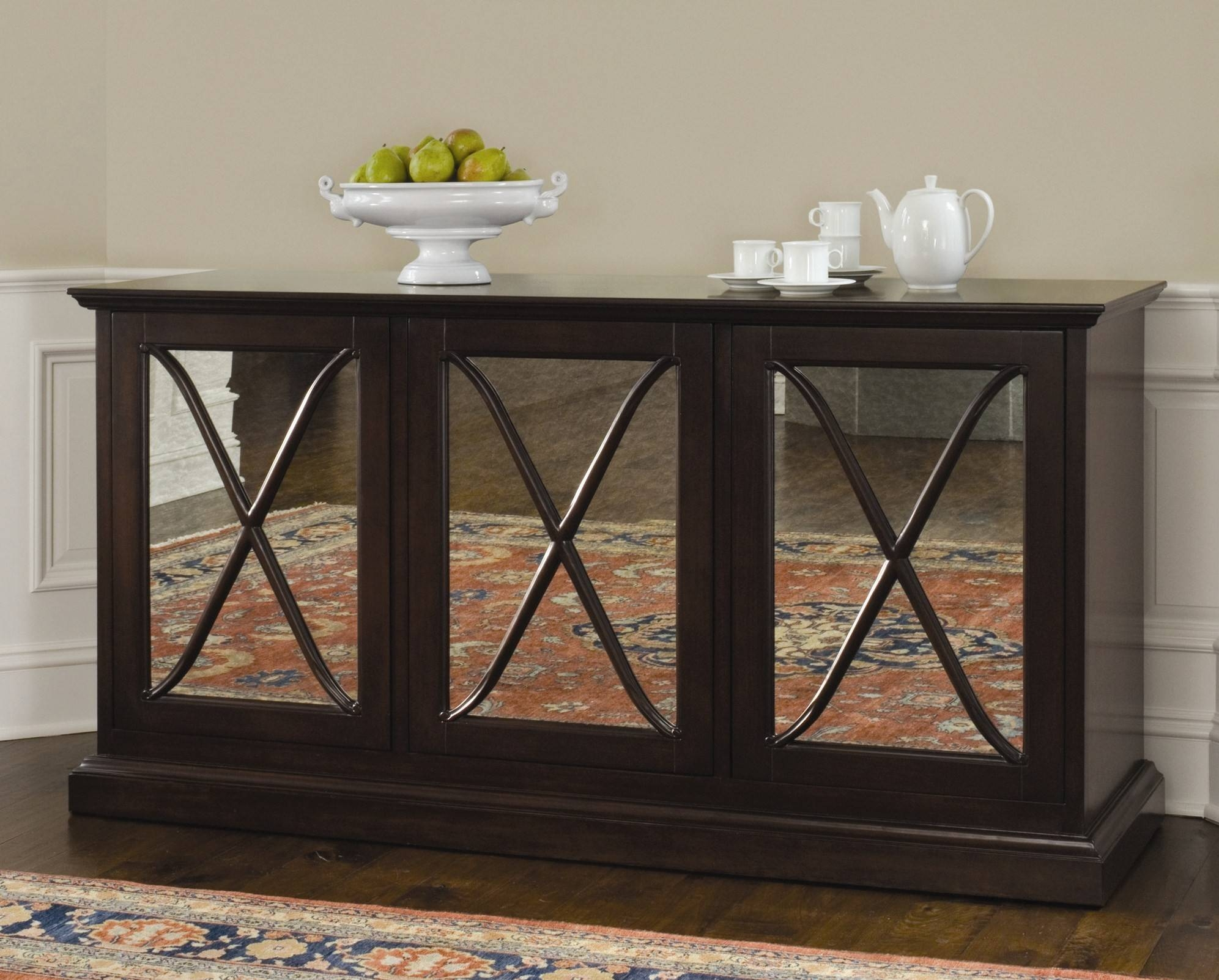 Sideboards. Astounding Mirrored Buffet Cabinet: Mirrored-Buffet throughout Dark Brown Sideboards (Image 23 of 30)